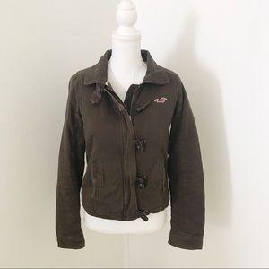 HOLLISTER Bomber Moto Fleece Fur Jacket